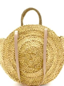 Round Woven Tote w/Parrot Embroidery-ON SALE!