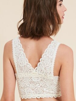 Scoop Neck Lace Bralette – Cream