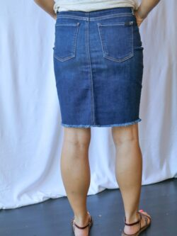 Denim Mini Skirt w/ Frayed Hem