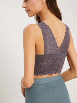Scoop Neck Lace Bralette – Plum