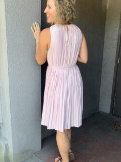 Pleated Dress w/Self Tie
