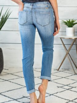 Exposed Button Girlfriend Jeans