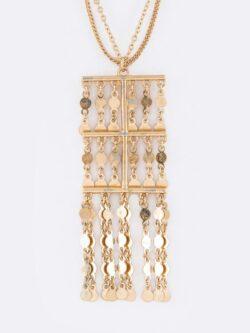 Fringe Disk Chain Pendant Necklace