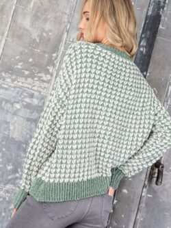 Textured Green/Ivory Sweater