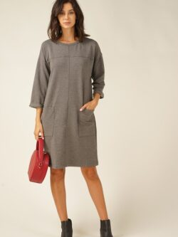 French Terry Dress, Charcoal – ON SALE!