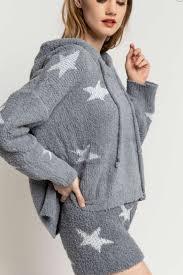 Berber Fleece Hoodie,  Grey Star