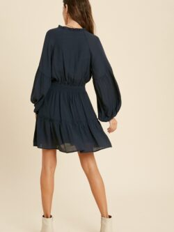 Tiered Dress w/Smocked Waist,  Navy