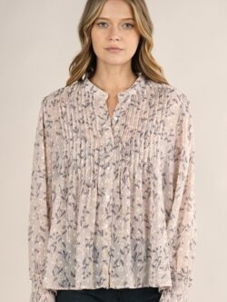 Smocked Sleeve Floral  Blouse