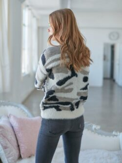 White Mix Camo Sweater