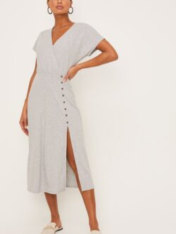 Ribbed Dress w/ Button Slit,  Heather Grey – SALE!