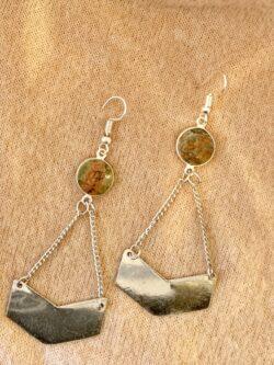 Geometric Earrings w/Stone