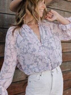 Lovely Floral Blouse, Grey/Pink