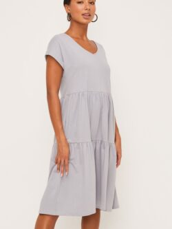 Midi Ruffle Dress – Steel Blue