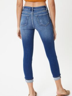 Exposed Button Fly Skinny, Cuffed Ankle
