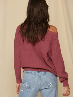 Boat Neck Berry Sweater