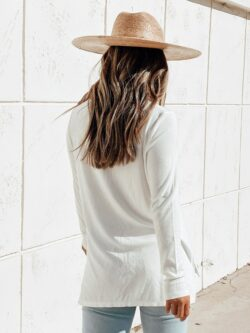 Bamboo Ribbed Long Sleeve, White
