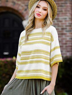 Kiwi Striped Knit Sweater