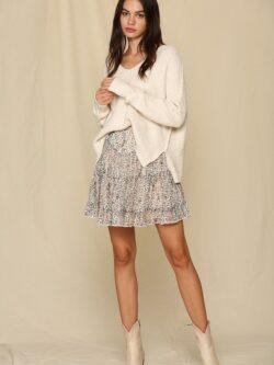 Tiered Skirt, Ivory Print