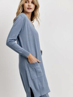Lightweight Long Cardigan, Robin Blue