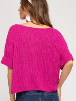 Knit Half Sleeve Sweater, Fuchsia