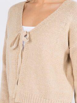 Front Tie Sweater, Khaki