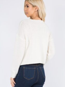 Front Tie Sweater, Vanilla