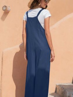 Loose Wide Leg Jumpsuit, Navy