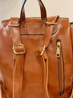 Croc Detail Backpack, Cognac