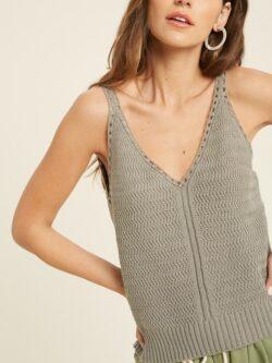 Sweater Tank Top, Sage Grey