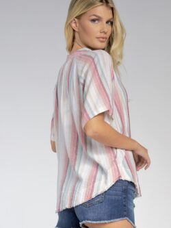 Woven Stripe Collared Top