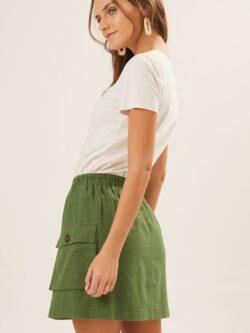 Green Drawstring  Woven Skirt