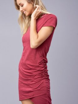 Ruched T-Shirt Dress, Berry