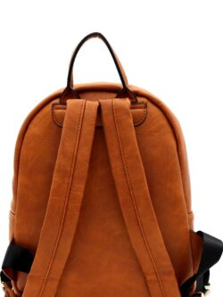 Front Pocket Backpack w/ Zipper, Cognac