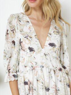 Tiered Floral V-Neck Dress