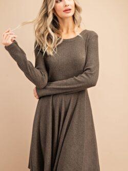 Long Sleeve Pleated Dress, Olive