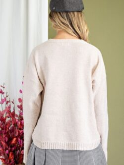 Curved Hem w/Buttons Pullover, Oatmeal