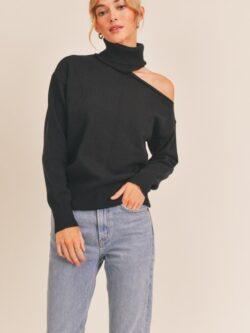 Black Lush Sweater w/Shoulder Cut Out