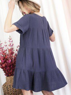 Tiered Cotton Dress, Navy