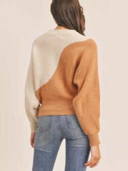 Wavy Colorblock Crew Sweater