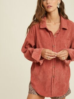 Corduroy Button Down, Faded Plum