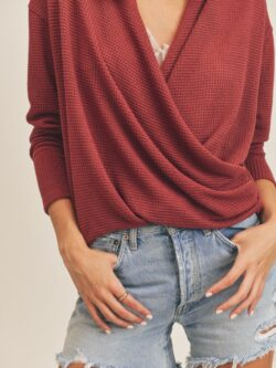 Cross Front Waffle Long Sleeve, Berry