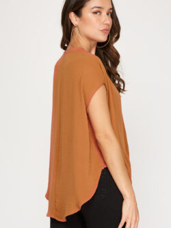 Pumpkin Twist Front Short Sleeve Blouse