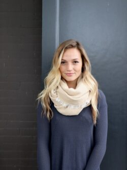 Tan Infinity Scarf with Fringe