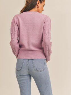 Diamond Knit Sweater, Heather Mauve